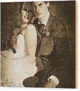 Faded Vintage Wedding Photograph Wood Print