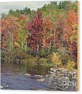 Fall At The River Wood Print