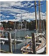 Fall In The Harbor Wood Print