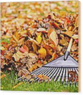 Fall Leaves With Rake Wood Print