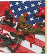 Fallen Toy Soliders On American Flag Wood Print
