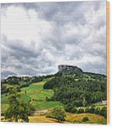 famous Bismantova rock in the north of Italy Wood Print