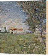 Farmhouse In A Wheat Field Wood Print