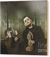 Father And Son In Gasmask. Nuclear Terror Attack Wood Print