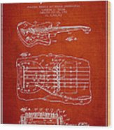 Fender Floating Tremolo Patent Drawing From 1961 - Red Wood Print