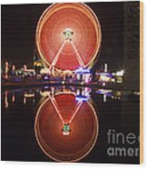 Ferris Wheel Reflections Wood Print by George Oze