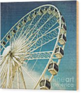 Ferris Wheel Retro Wood Print