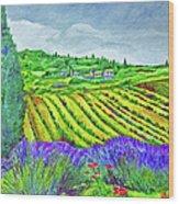 Fields At Dievole Wood Print