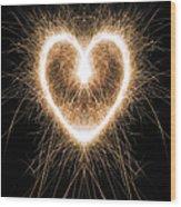 Fiery Heart Wood Print