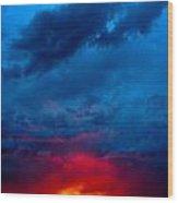 Fiery Sunset Wood Print