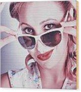 Fifties Glamor Girl Wearing Retro Pin-up Fashion Wood Print