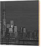 Financial District In New York City At Twilight Wood Print