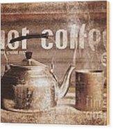 Fine Art Coffee Shop Tin Sign Insignia Wood Print
