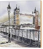 Fine Art Drawing The Tower Bridge In London Uk Wood Print