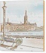 Fine Art Landscape Sketch Of Stockholm Sweden  Wood Print
