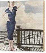 Fine Art Vintage Pin-up. Vacation Departure Dock Wood Print