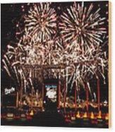 Fireworks At Kauffman Stadium Wood Print