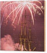 Fireworks Exploding Over Salem's Friendship Wood Print