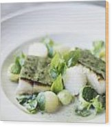 Fish Fillet With Herb Topping And Vegetables Wood Print