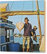 Fisherman With A Skate On Thu Bon River In Hoi An-vietnam  Wood Print
