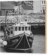fishing boat tied up in rathlin harbour Rathlin Island northern ireland Wood Print