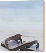 Flip-flops On Beach Wood Print