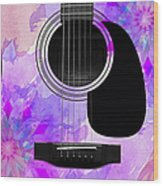 Floral Abstract Guitar 17 Wood Print