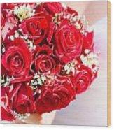 Floral Rose Boquet Held By Bride Wood Print