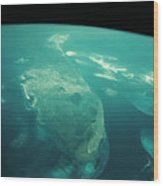Florida From Space Wood Print