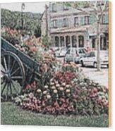 Flower Cart In Sisteron France Wood Print
