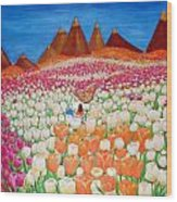 Flowers And Fields Alive With Thy Joy Wood Print
