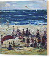 Flying A Kite At The Beach Wood Print