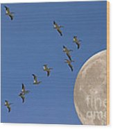 Flying To The Moon Wood Print