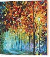 Fog Alley Wood Print by Leonid Afremov