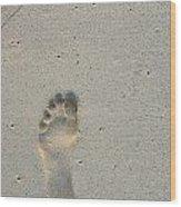 Footprint In Sand On Beach Wood Print by Sami Sarkis