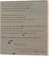Footprints In The Sand Poem Wood Print