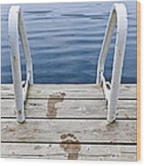 Footprints On Dock At Summer Lake Wood Print