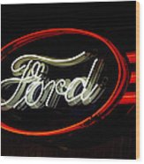Ford Neon Sign Wood Print