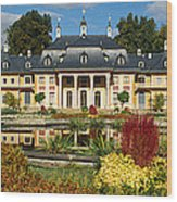 Formal Garden In Front Of A Castle Wood Print
