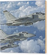 Formation Of Italian Air Force Amx-acol Wood Print