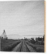 former canadian pacific railway now great sandhills railway through leader Saskatchewan Canada Wood Print