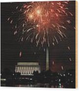 Fourth Of July Fireworks At Washington Dc Wood Print