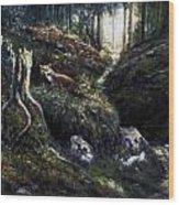 Fox In The Wood Wood Print
