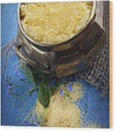 Fresh Corn Meal Wood Print by Mythja  Photography