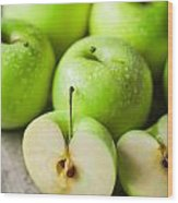 Fresh Healthy Green Apples On Wooden Background Wood Print