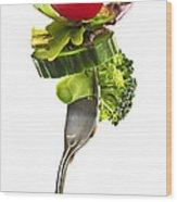 Fresh Vegetables On A Fork Wood Print by Elena Elisseeva