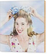 Friendly Female Pin-up Wearing Hair Accessories  Wood Print