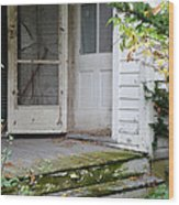 Front Door Of Abandoned House Wood Print