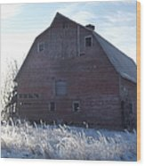 Frosty Barn Wood Print