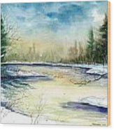 Frozen Creek Wood Print